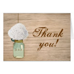 Country Rustic Mason Jar Hydrangea Thank You Note Card