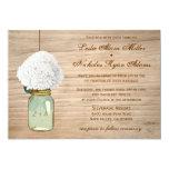 Country Rustic Mason Jar Hydrangea Wedding Invite