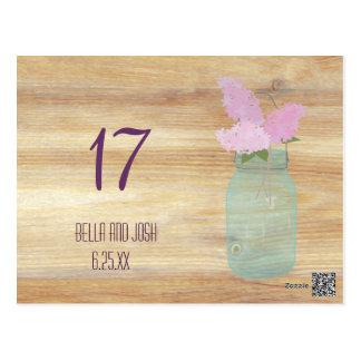 Country Rustic Mason Jar Lilac Wedding Table Card Postcard