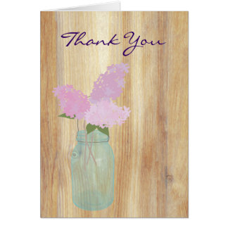 Country Rustic Mason Jar Lilacs Thank You Note Cards