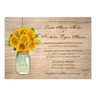 Country Rustic Mason Jar Sunflowers Wedding 13 Cm X 18 Cm Invitation Card