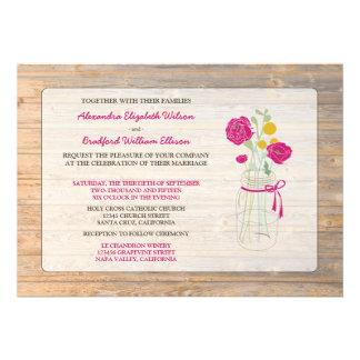 Country Rustic Mason Jar Wedding Invitation pink
