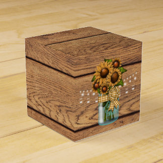 Country Rustic Mason Jar with Sunflower Favour Box