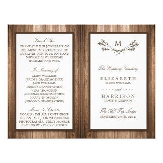 Country Rustic Monogram Branch & Wood Wedding 21.5 Cm X 28 Cm Flyer