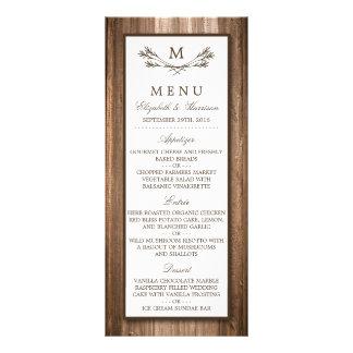 Country Rustic Monogram Branch & Wood Wedding Menu Customized Rack Card