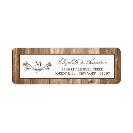 Country Rustic Monogram Branch & Wood Wedding Return Address Label