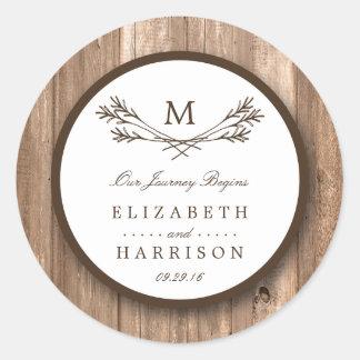 Country Rustic Monogram Branch & Wood Wedding Round Sticker