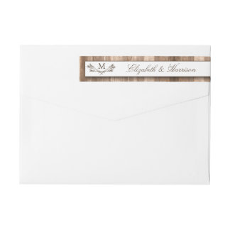 Country Rustic Monogram Branch & Wood Wedding Wraparound Return Address Label
