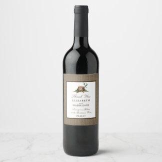Country Rustic Monogram Tree & Burlap Wedding Wine Label