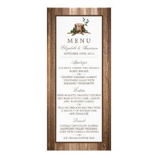 Country Rustic Monogram Tree & Wood Wedding Menu Full Color Rack Card