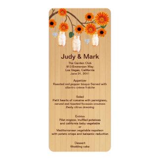 Country Rustic Orange Mason Jars Wedding Menu Card Custom Invites