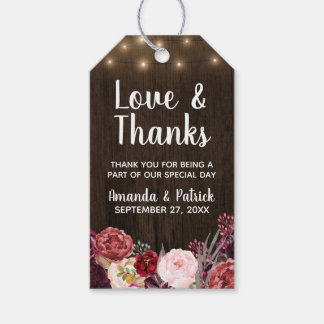 Country Rustic Peony Wedding Thank You Tags
