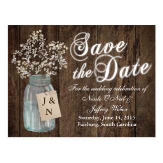 Country Rustic Save the Date Barn Wedding Card Postcard