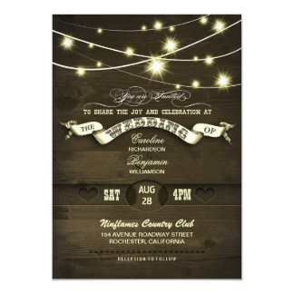 country rustic string lights wood wedding 13 cm x 18 cm invitation card