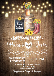 Sunflower baby shower invitations zazzle country rustic sunflower baby shower invitations filmwisefo