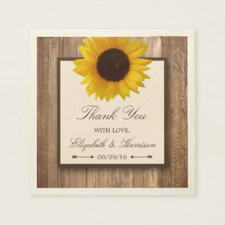 Country Rustic Sunflower & Brown Wood Wedding Disposable Serviettes