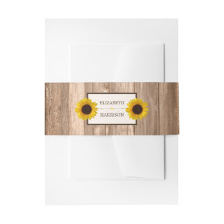 Country Rustic Sunflower & Brown Wood Wedding Invitation Belly Band