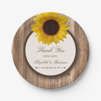 Country Rustic Sunflower & Brown Wood Wedding Paper Plate