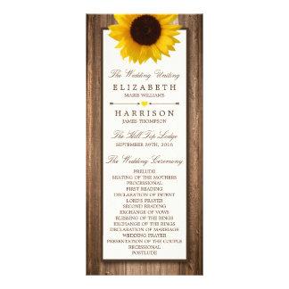 Country Rustic Sunflower & Brown Wood Wedding Rack Card