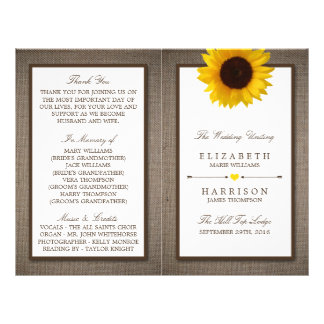 Country Rustic Sunflower & Burlap Wedding 21.5 Cm X 28 Cm Flyer