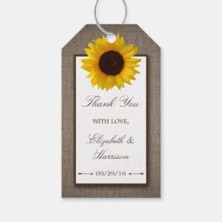 Country Rustic Sunflower & Burlap Wedding Gift Tags