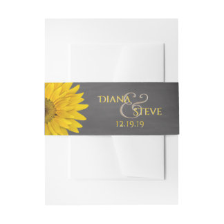 Country Rustic Sunflower Chalkboard Wedding Invitation Belly Band
