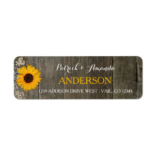 Country Rustic Sunflower Lace Burlap Wedding Label