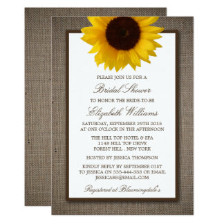 Country Rustic Sunflower On Burlap Bridal Shower 13 Cm X 18 Cm Invitation Card