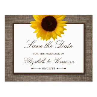 Country Rustic Sunflower On Burlap Save The Date Postcard