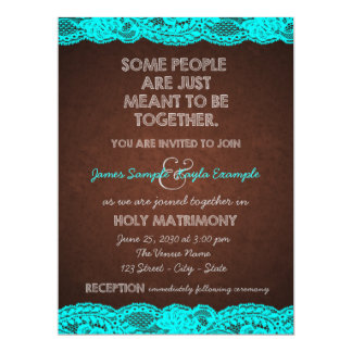 Country Rustic Teal Blue and Brown Wedding 17 Cm X 22 Cm Invitation Card