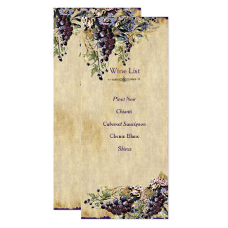 Country Rustic, Vintage, Wedding Wine list Card