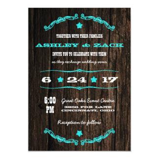 Country Rustic Western Star Wedding Invitation