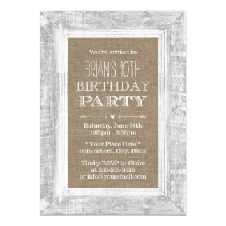 Country Rustic Wood Frame Burlap 10th Birthday Card