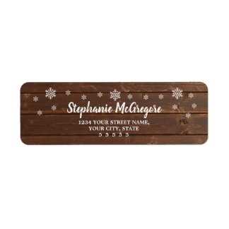 Country  Rustic Wood Holidays Christmas Snowflakes Return Address Label