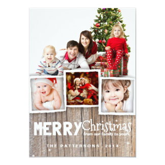 Country Rustic Wood Merry Christmas Photo Card 13 Cm X 18 Cm Invitation Card