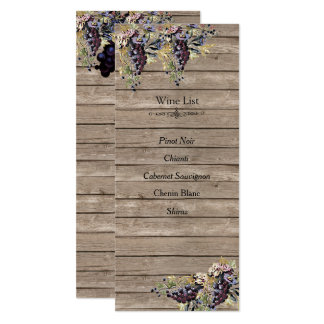 Country Rustic, Wood, Vineyard, Wine list Card