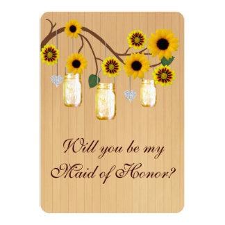 Country Rustic Yellow Mason Jar Maid Of Honour 13 Cm X 18 Cm Invitation Card