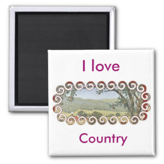 Country scene square magnet