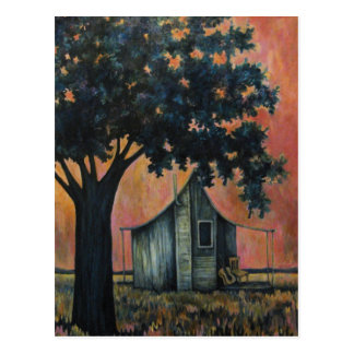 Country Shack Blues Guitar Under a Shade Tree Art Postcard