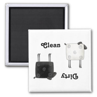 Country Sheep Clean Dirty Square Dishwasher Magnet
