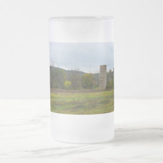 Country Silo Landscape Frosted Glass Beer Mug