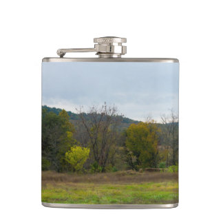 Country Silo Landscape Hip Flask
