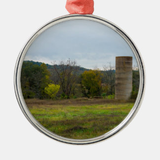 Country Silo Landscape Metal Ornament
