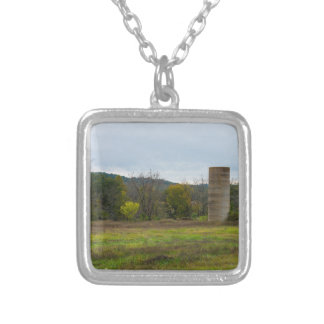 Country Silo Landscape Silver Plated Necklace
