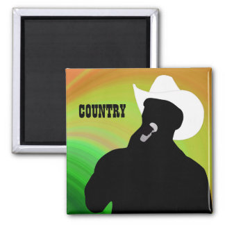Country singer's silhouette, green yellow back magnet