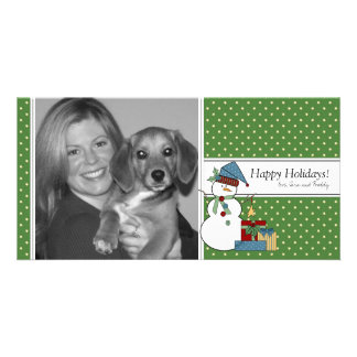 Country Snowman Christmas Photo Card {green}