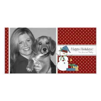 Country Snowman Christmas Photo Card {red}