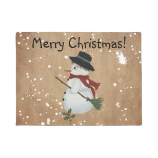 Country Snowman Door Mat