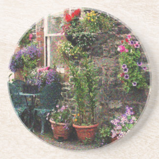 Country Stone Cottage With Flowers Coaster