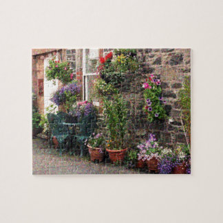 Country Stone Cottage With Flowers Jigsaw Puzzle